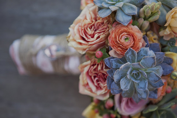 Mexican Wedding Inspiration- Spanish succulent ranunculus peach coral bridal bouquet-allaboutthedetails.com