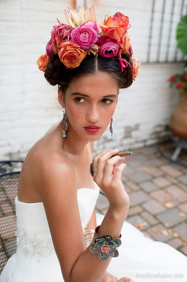 Mexico Wedding Inspiration-flower Crown-Allaboutthedetails.com