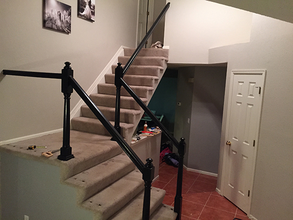 DYI Stair Case Remodel- Black- allaboutthedetails.com